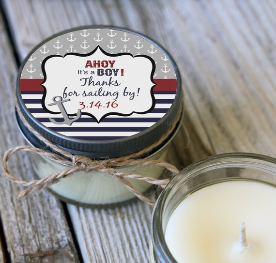 Set of 12 - 4 oz Baby Shower Favor Candles//Nautical Tag Design//Boy Baby Shower Favors // Boy Baby Sprinkle // Soy Candle Favors