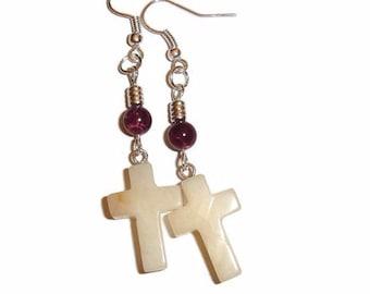Marble  Jasper Cross Earrings Cross Earrings Dangle Cross Earrings Christian jewelry Faith  Earrings Cross Earrings Cross Purple earrings