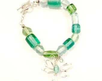 Fairytale Wire Dragonfly Bracelet in Sea Green Adjustable Length #902