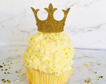 Set of 20 gold glitter crown cupcake toppers. Ships within 2-5 business days.