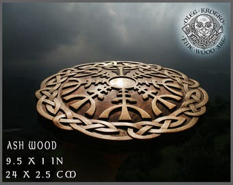 Helm Awe Walknut Viking Symbol Home Decor Art Norse Thor Odin Wood Picture Pagan Gods Carving Heathen Asatru Celtic Norse Rune Wall Hanging