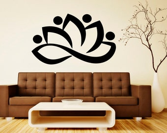 Lotus Wall Decal Vinyl Stickers Beautiful Flower Art Bedroom Interior Removable Home Decor (2lts)