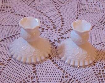 Set of 2 Fenton Spanish Lace Candleholders