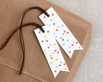 Valentine Gift Tags, Petite Hearts Confetti Set - Recycled Eco-Friendly Modern Valentine's Day Tags