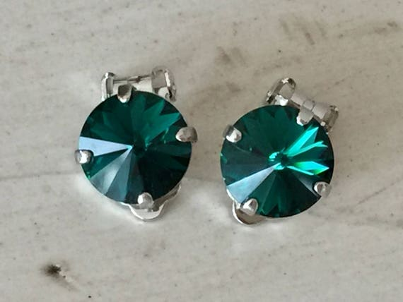 Emerald Crystal Clip On Earrings, Silver