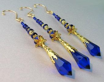 Icicle Ornament, Crystal Suncatcher, Cobalt Blue, Glass Crystals, Crystal Prism, Gold, Handmade Hanger, Christmas Ornament, Window Decor