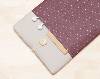 iPad Pro 12.9 sleeve, iPad Pro 12.9 cover, 12.9 inch iPad Pro case,  iPad Pro cover - Red dots in grey