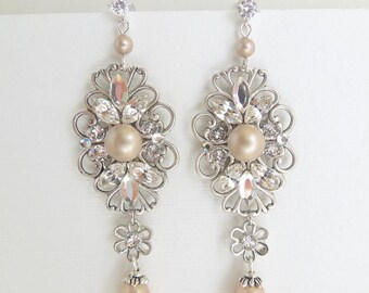 champagne Pearl Earrings swarovski Pearls wedding Rhinestone Earrings Bridal earrings Crystal Earrings Bridal chandelier Earrings DINA