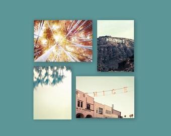 SALE, California Prints, Set of 4 Prints, Mint Green, Gold, Beach Decor, Venice Beach, Hollywood Sign