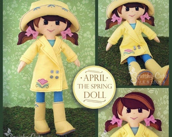 Doll Sewing Pattern PDF - Felt Rag Doll Pattern - Includes Doll Clothes Patterns - April the Spring Doll