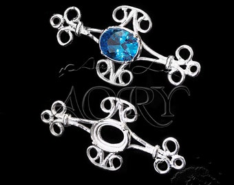 1pcs 925 Sterling Silver Filigree Bezel Setting for 8x6mm Cabochon or Faceted Gems, with 2 Loops, N3437ws, 34.5x16mm, Shiny Silver, 4 Prongs