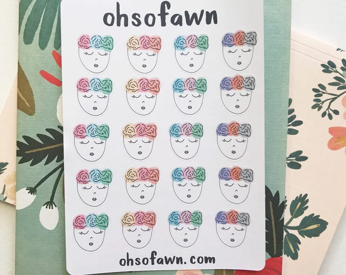 Floral Ladies Hand Drawn Stickers