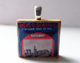 Hello Seattle - vintage sheet music Scrabble tile pendant