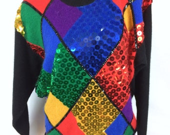 VTG lambswool angora sequined sweater geometric pattern multicolor oversized 90s