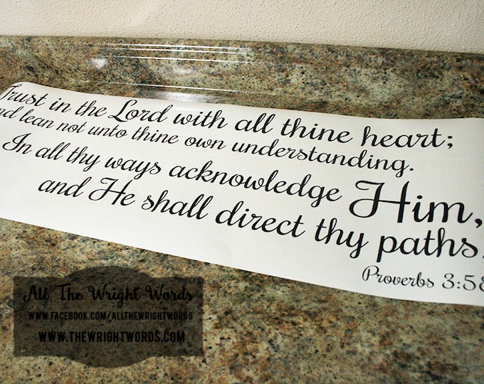 "36x12""  Trust In The Lord With All Thine Heart Vinyl Decal - Proverbs 3:5-6 - Safe For Walls - Removable - Faith - Home - Home Decor - God"