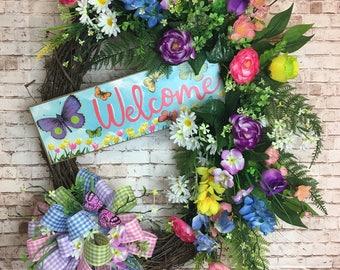 Spring wreath , welcome wreath , grapevine wreath , butterfly wreath