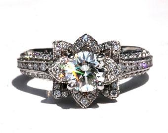 MILGRAIN - Gorgeous UNIQUE Flower Lotus Rose Diamond Engagement Ring - 2.25 carat - 14K white, rose, yellow gold - custom - art deco - fL04