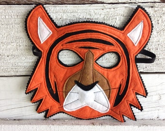 Bengal Tiger Costume - Felt Animal Mask, Tail, & Vest - Wool or Eco Felt