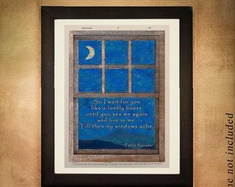 Pablo Neruda Dictionary Art Print Quote Love Romance Missing Loneliness Wall Art Valentines Day Romantic da220