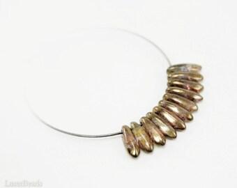 Amber Daggers 10mm (50) Czech Glass Beads Bronze Topaz Brown Picasso Teardrop Fang Spike last