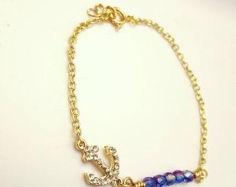 Heliotrope swarovski beaded bar anchor bracelet