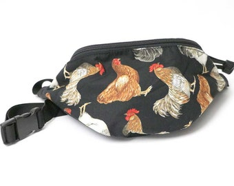 Fanny pack Chicken Rooster Farm fabric - Cute  - Hip Waist Bag for travel, sport, and hiking 2-zippers