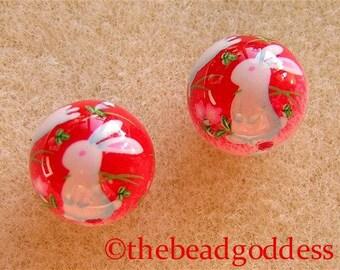 10mm Pair Japanese Tensha Beads BUNNIES PINK RED Background