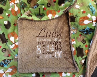 Personalized Custom Minky Blanket in dimple dot Taupe/Kids forest tails kiwi