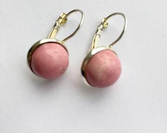 Pink ceramic earrings