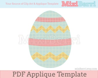 Easter Egg Applique Pattern - PDF Applique Template Instant Download