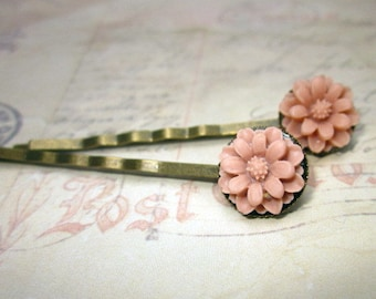 Rose pink mum antique bronze bobby pins set of two