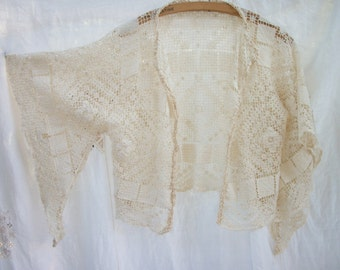 Nifty Drop Sleeve Open Front Top / Cover ~ Crochet Edge ~ Vintage Crochet / Earthy Chic Lace Blouse