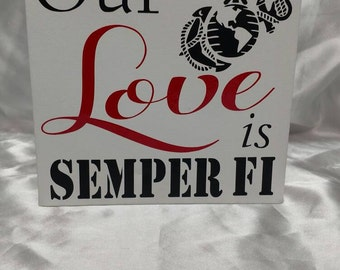 """Our Love is Semper Fi 6""""x6"""" canvas"""