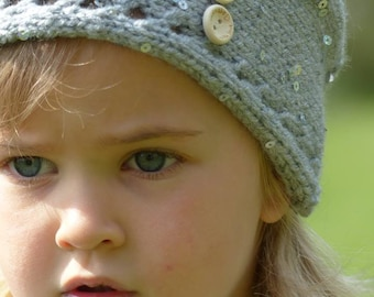 crocheted wool ombre grey headband for romantic girl or adult