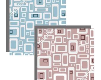Printable  Digital Collage Sheet, Modern, Retro, Digital Clip Art, Digital Paper, 3 Inch Squares, Printable, Mad Men Inspired, MM 6