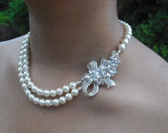 Leah Collection, Bridal Necklace, Bow with Flowers Rhinestone and Pearl Necklace, Vintage Style Bridal Necklace, Wedding Jewelry