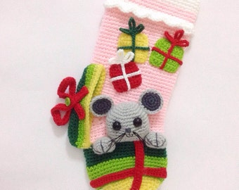 PATTERN - Little Mouse Christmas Stocking - Crochet Pattern, pdf