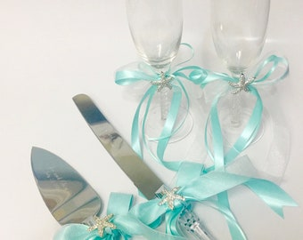 Beach Wedding Cake Servers and Champagne Glasses with Optional Engraving - coastal wedding monogrammed personalized wedding cake
