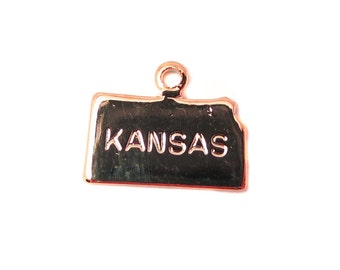 Engraved Tiny ROSE Gold Plated on Raw Brass Kansas State Charms (2X) (A415-D)