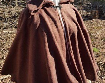 Short Fleece Cloak - Dark Brown Full Circle Cloak Cape with Hood