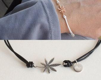 Leather cannabis bracelet - adjustable marijuana leather bracelet - ganja bracelet - leaf bracelet- weed bracelet -