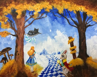Handmade Acrylic Painting On Stretched Canvas 16x20, Alice In Wonderland, Wall Art, Home Decor, Gift Idea