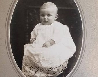 Vintage Black and White Baby Photograph Framed