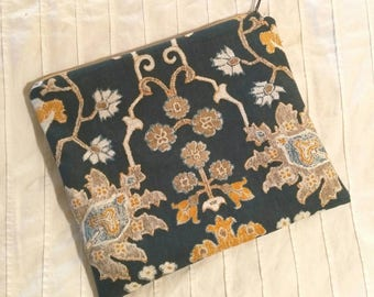 Navy and Mustard Oriental Patterned Pouch with Mustard Yellow Lining