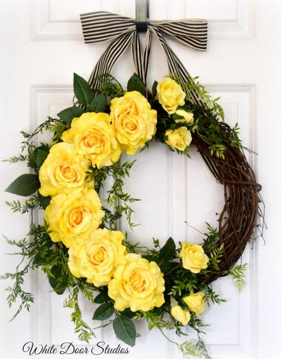 Yellow Rose Front Door Wreath