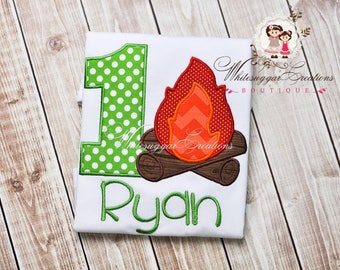 One Year Old Birthday Shirt - Boys Camping Birthday Appliqued Shirt - Embroidered Camping Themed Birthday Shirt, Baby 1st Birthday Outfit