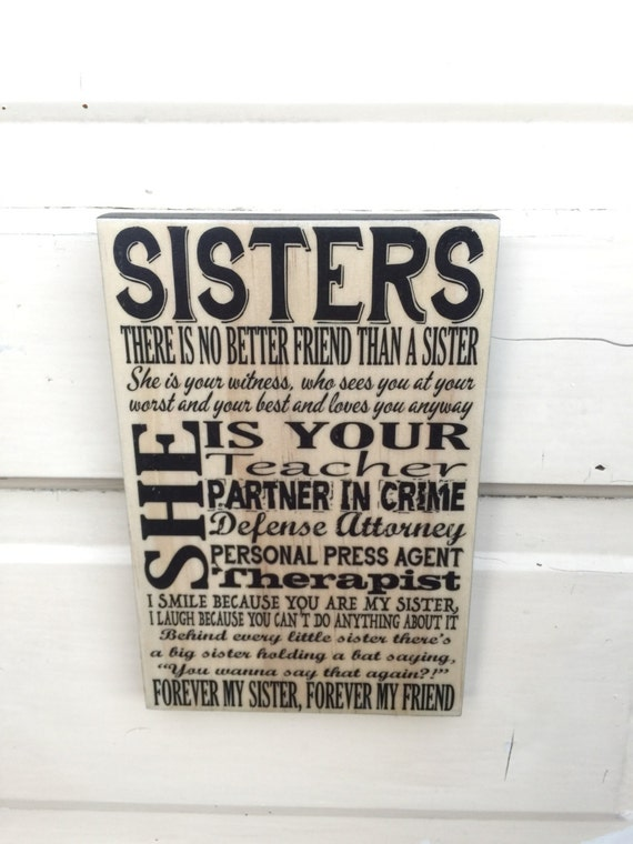 "Gift For Sister- Sisters Quote Art- Gift For Daughters- Sister Forever Friend Sign Decor- Sign About Sisters- Sisters Christmas Gift- 5""x8"""