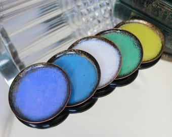 Vintage Enamel Coated Coasters, Set of 5 / Made of Copper, Enamel Coated / Mid Century Bar Cart Accessories