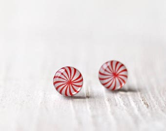 Peppermint earrings, Candy jewelry, Red stud earrings, Red earring studs, Peppermint jewelry Candy Earring, Holiday Jewelry Stocking Stuffer