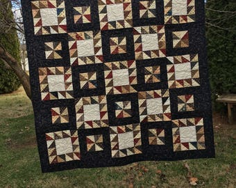 Rustic Pinwheels Lap Quilt or Table Topper